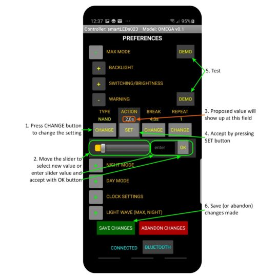 Details of PREFERENCES SCREEN – smartLEDs OMEGA application