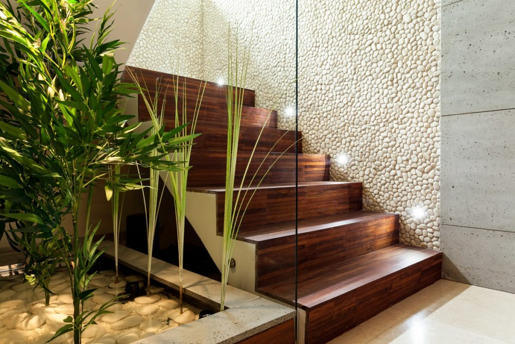 Magic stair lighting - Luxury interior with LED illuminated wooden staircase