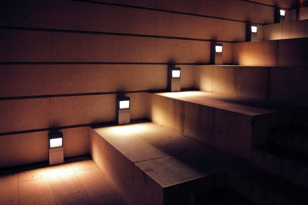 smartLEDs stair lighting control system - side lighting stone stairs