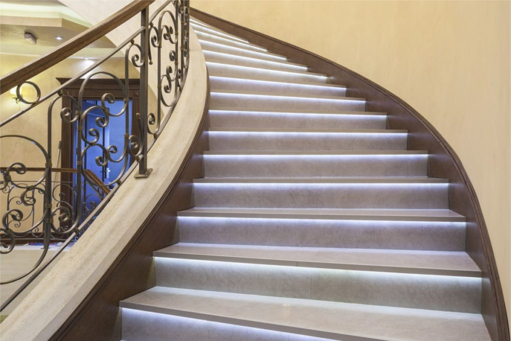 Luxury stairs lighting with LED strips
