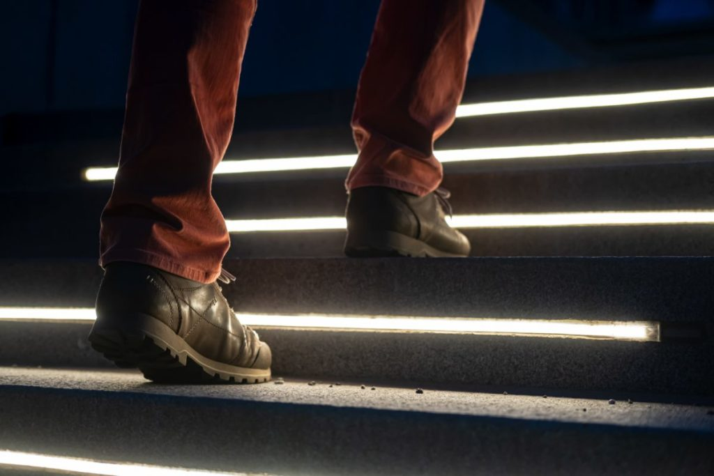 Safe walking up on LED lite stairs.