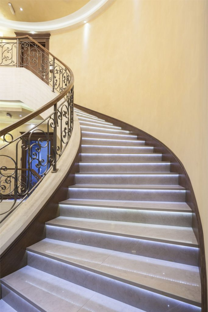 LED wave on luxury stairway. smartLEDs stair lighting control system