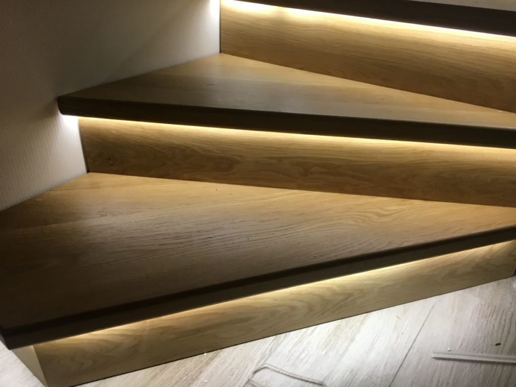 Wooden stairs with decorative led illumination