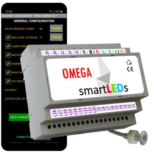 smartLEDs OMEGA – LED lighting stair controller with light probe and smartphone app